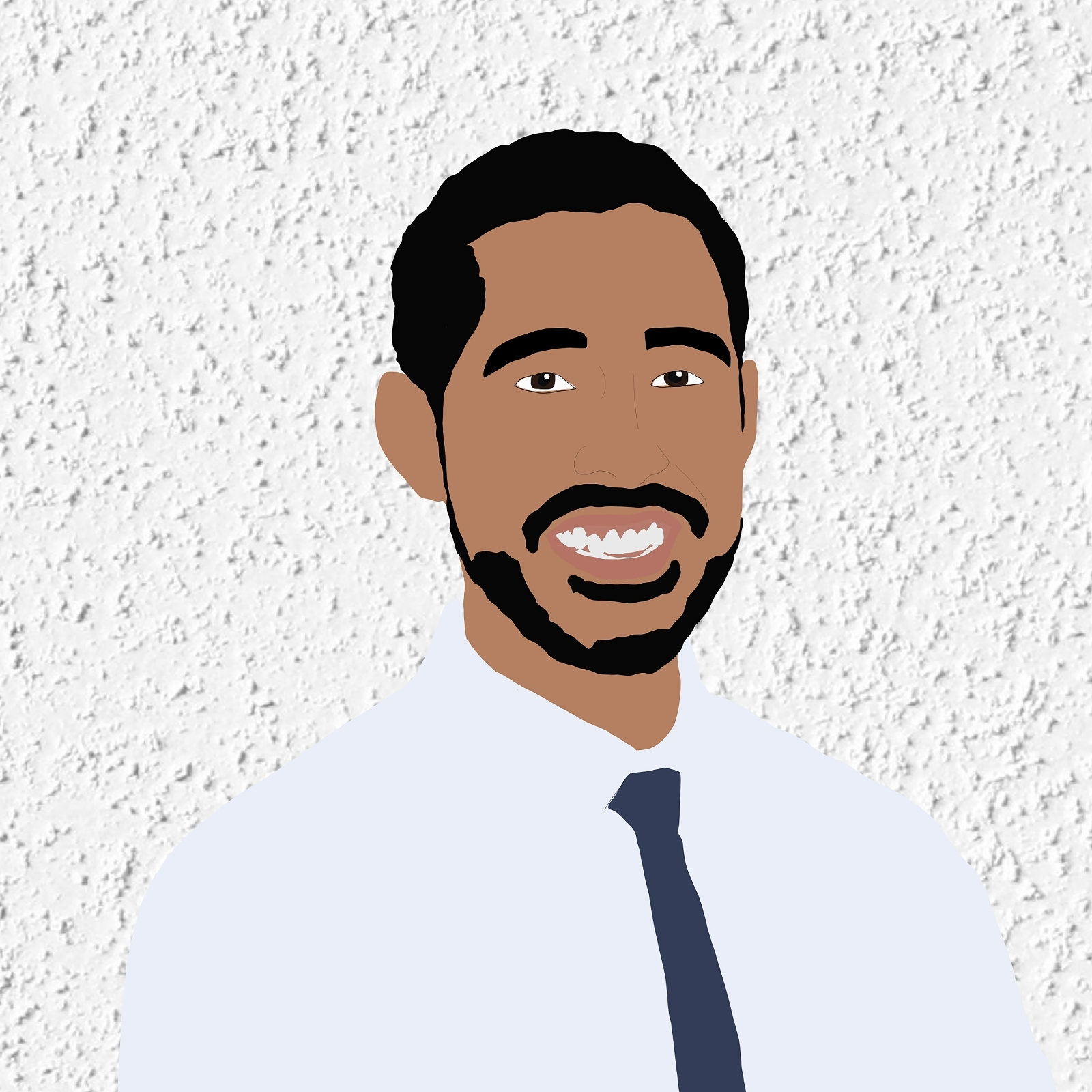 Digital illustration of Sergio smiling against a white stucco background.