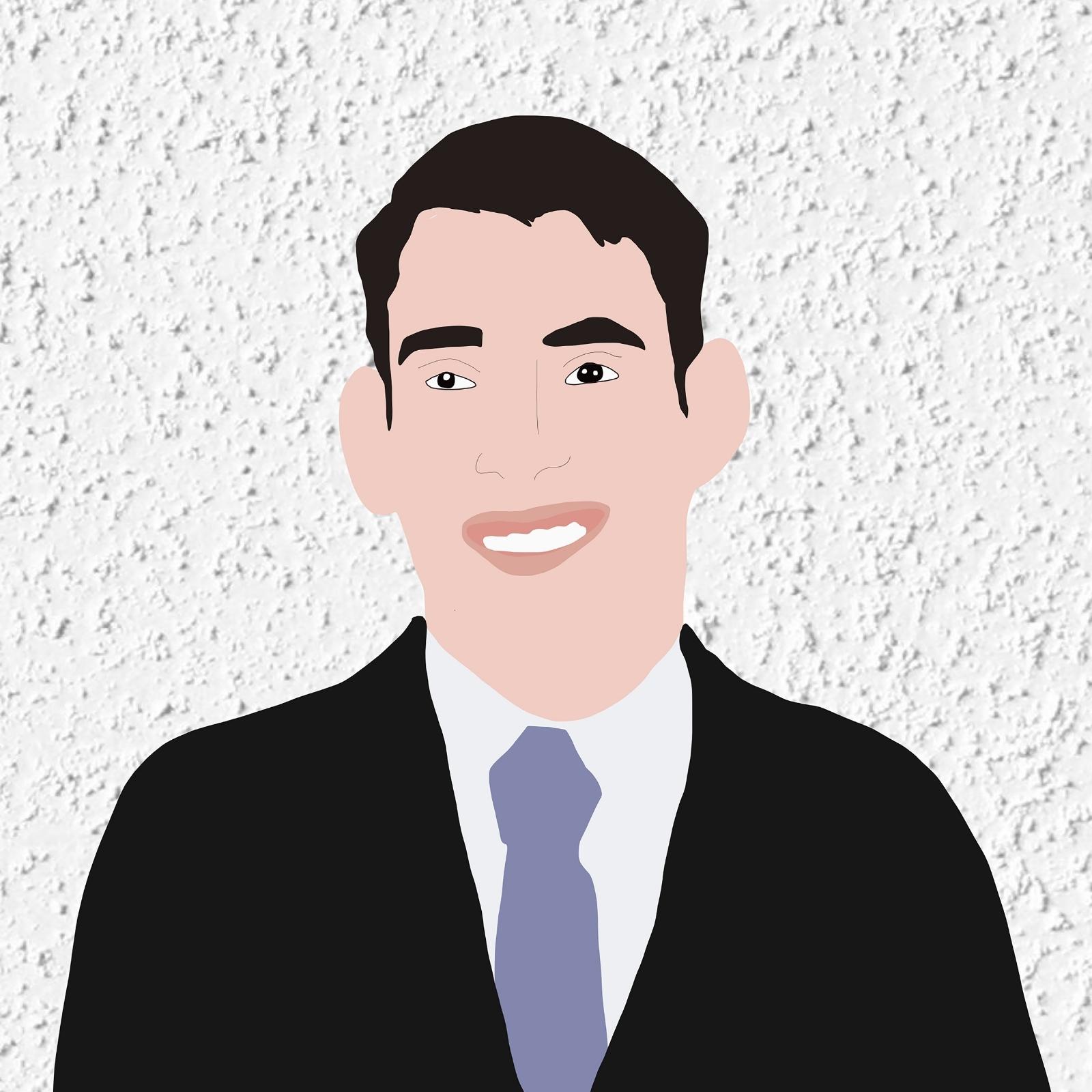 Digital illustration of Stephen smiling against a white stucco background.