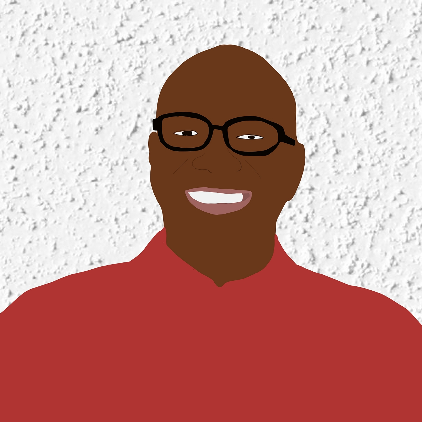 Digital illustration of Earl smiling against a white stucco background.