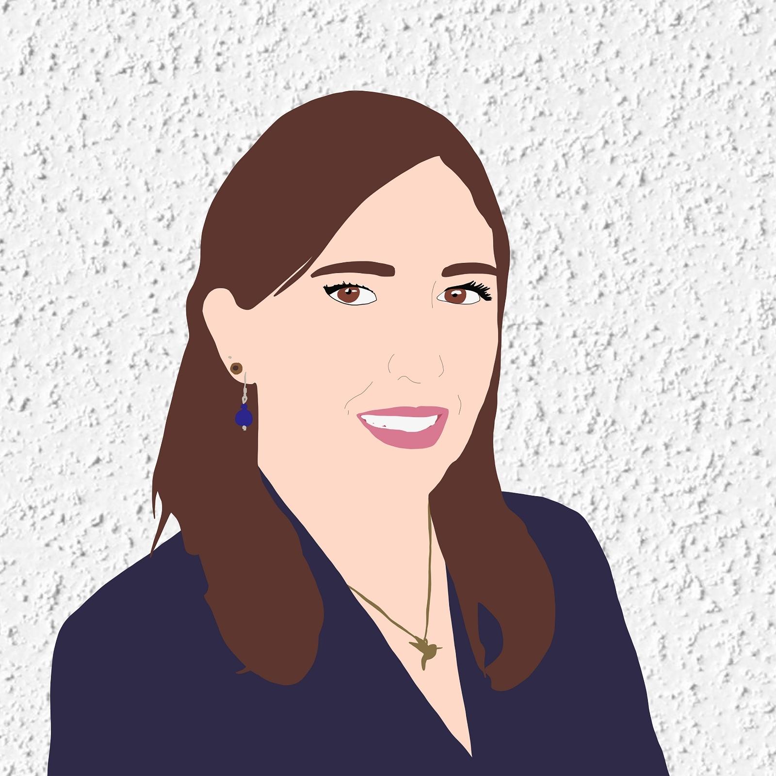 Digital illustration of Lindsay smiling against a white stucco background.