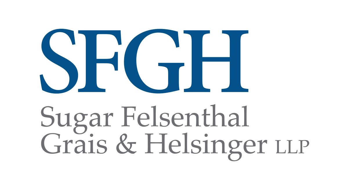 Logo that reads SFGH. Sugar, Felsenthel, Grais, and Helsinger LLP.