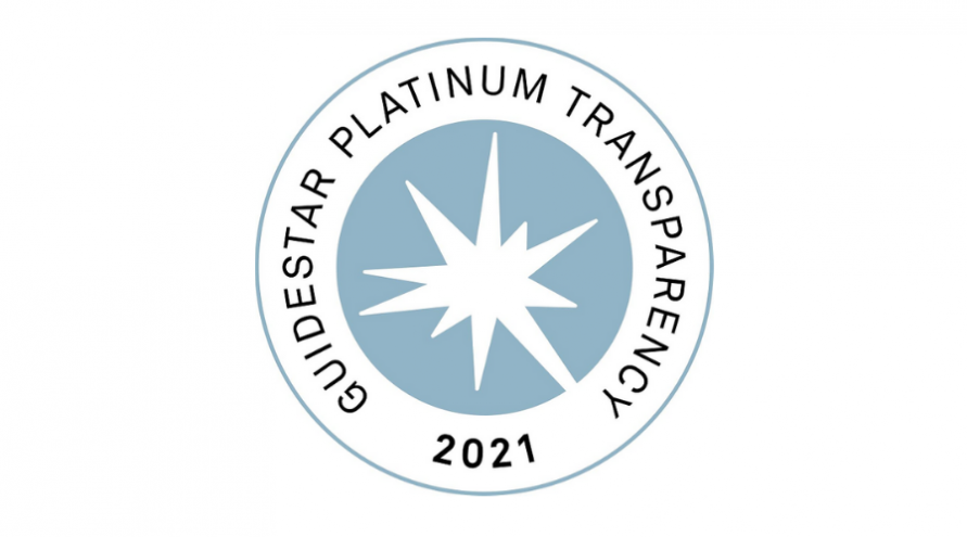 A medal that reads: Guidestar platinum transparency 2021.
