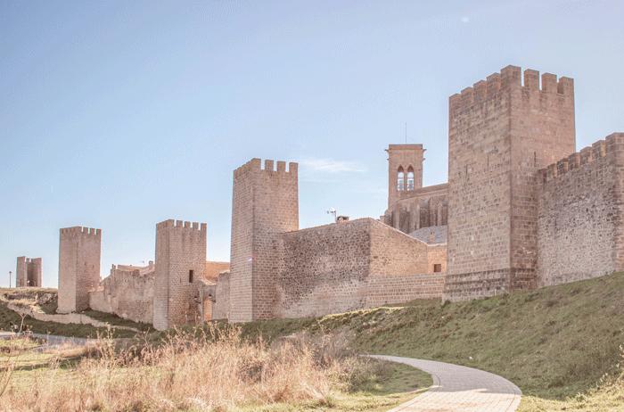 Cerco de Artajona desde el parking, al fondo la iglesia fortaleza