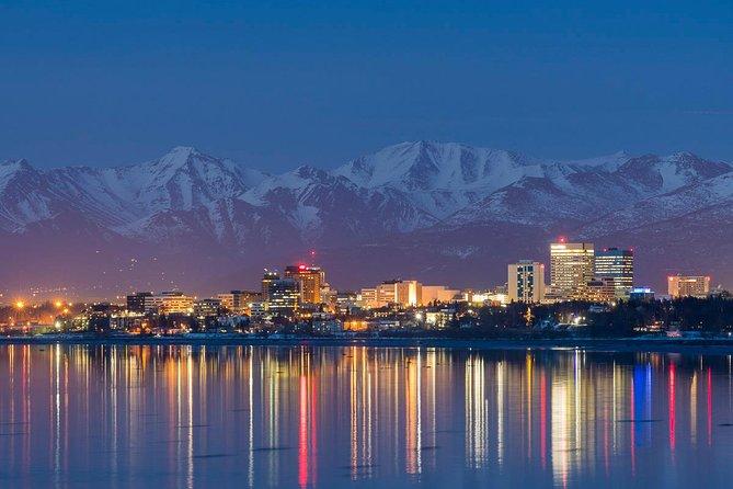 Skyline of Anchorage, AK on a winter night.