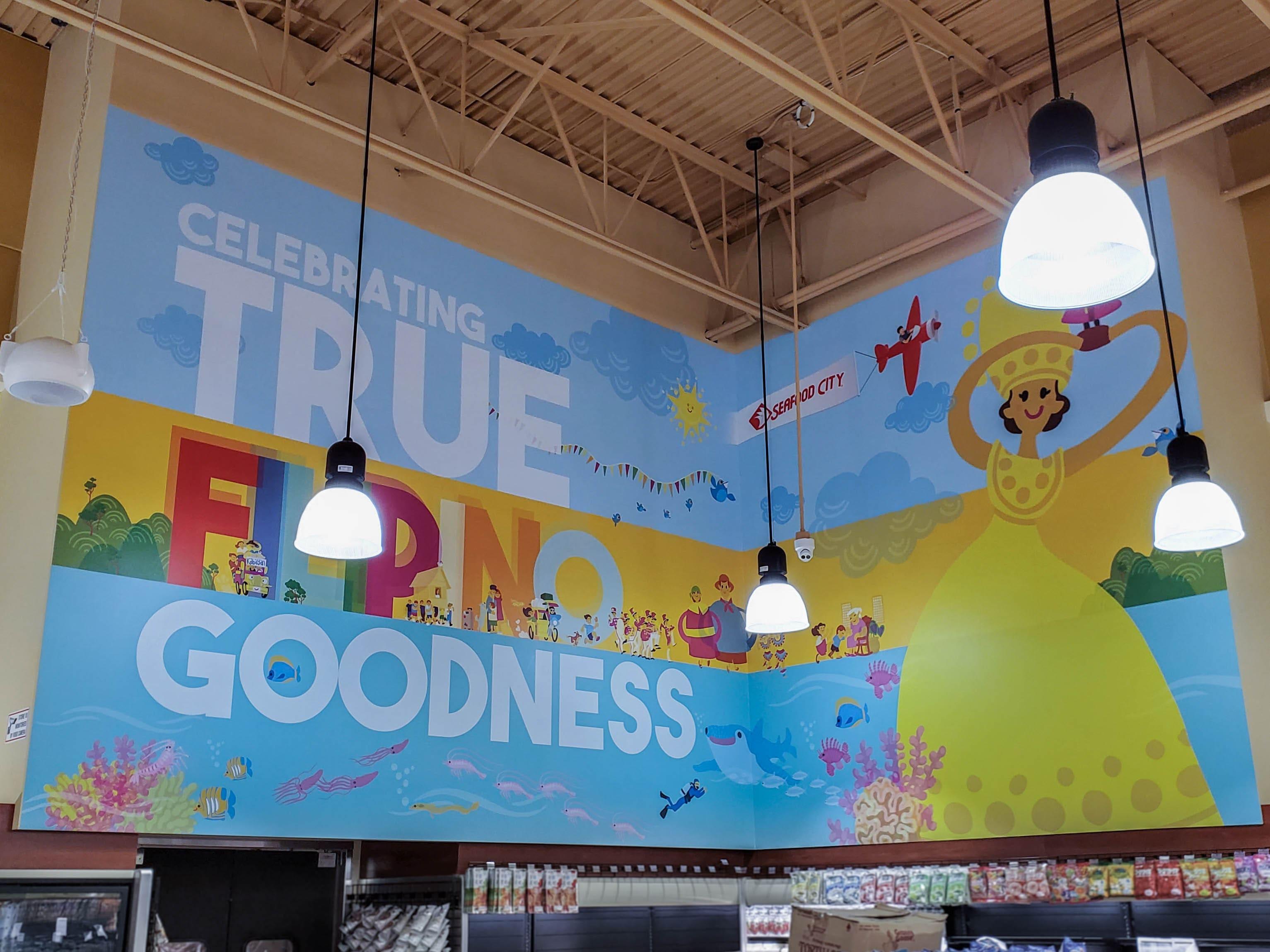 Seafood City Filipino goodness wall mural.