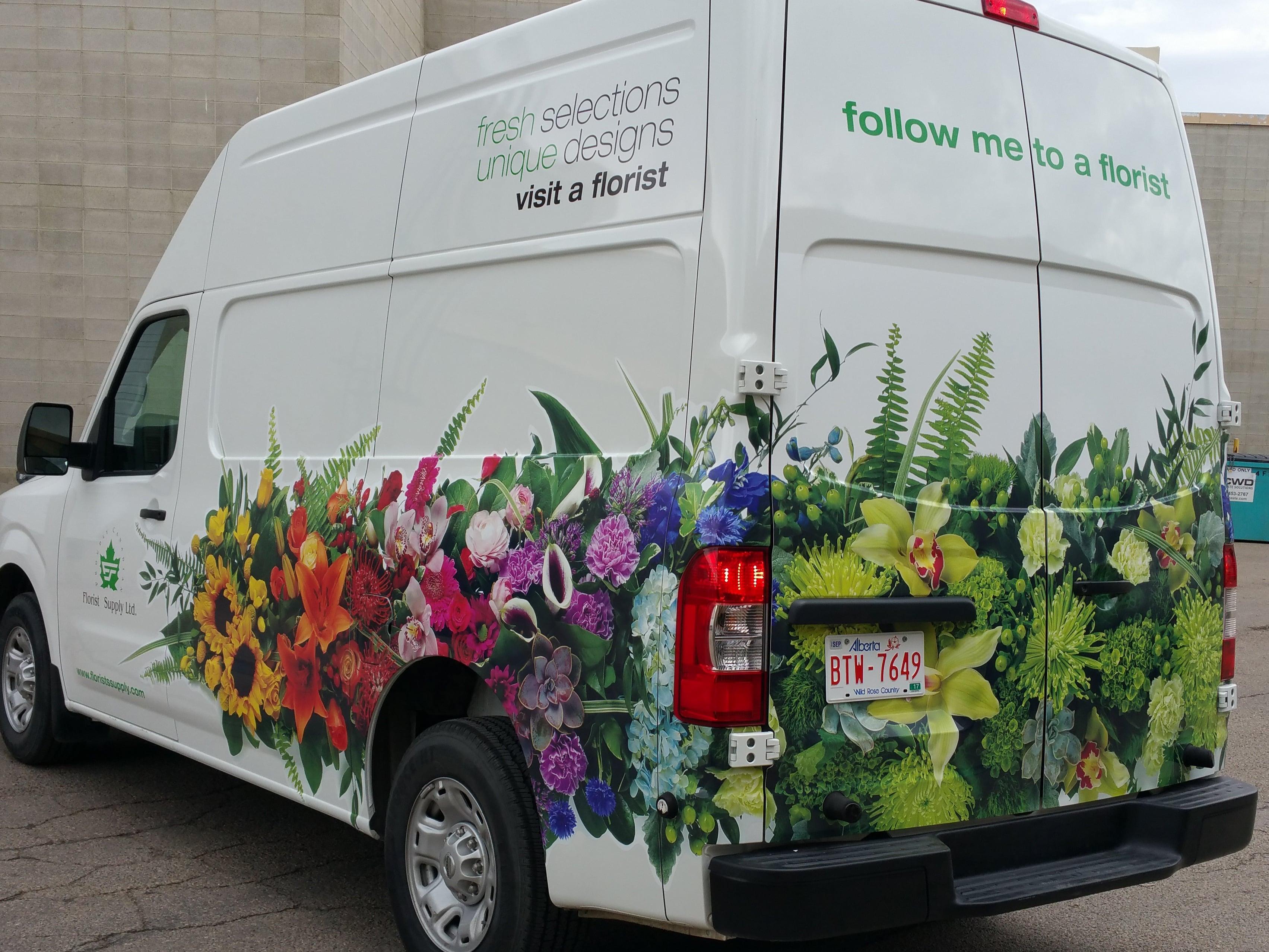 Florist Supply partial vehicle wrap.