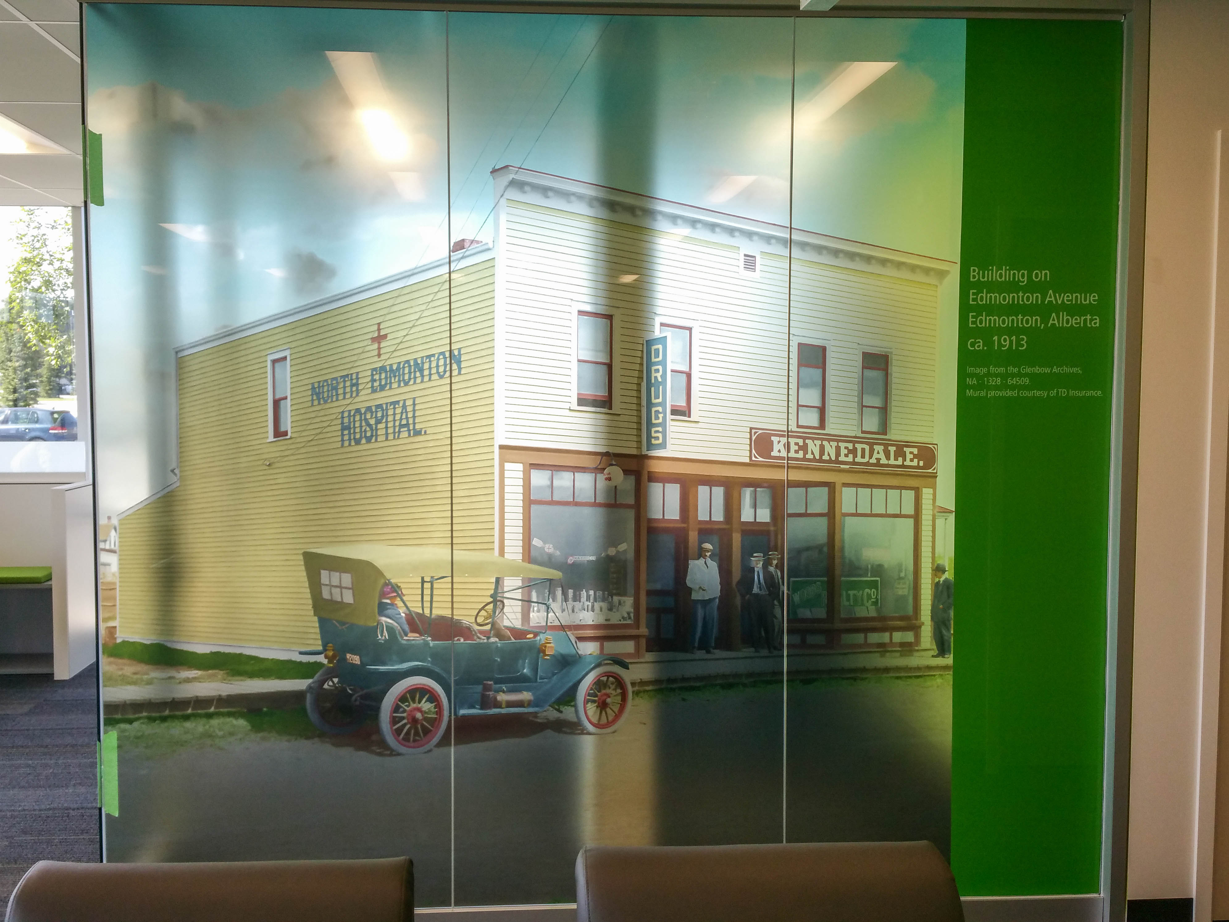TD Insurance clear printed window graphics.