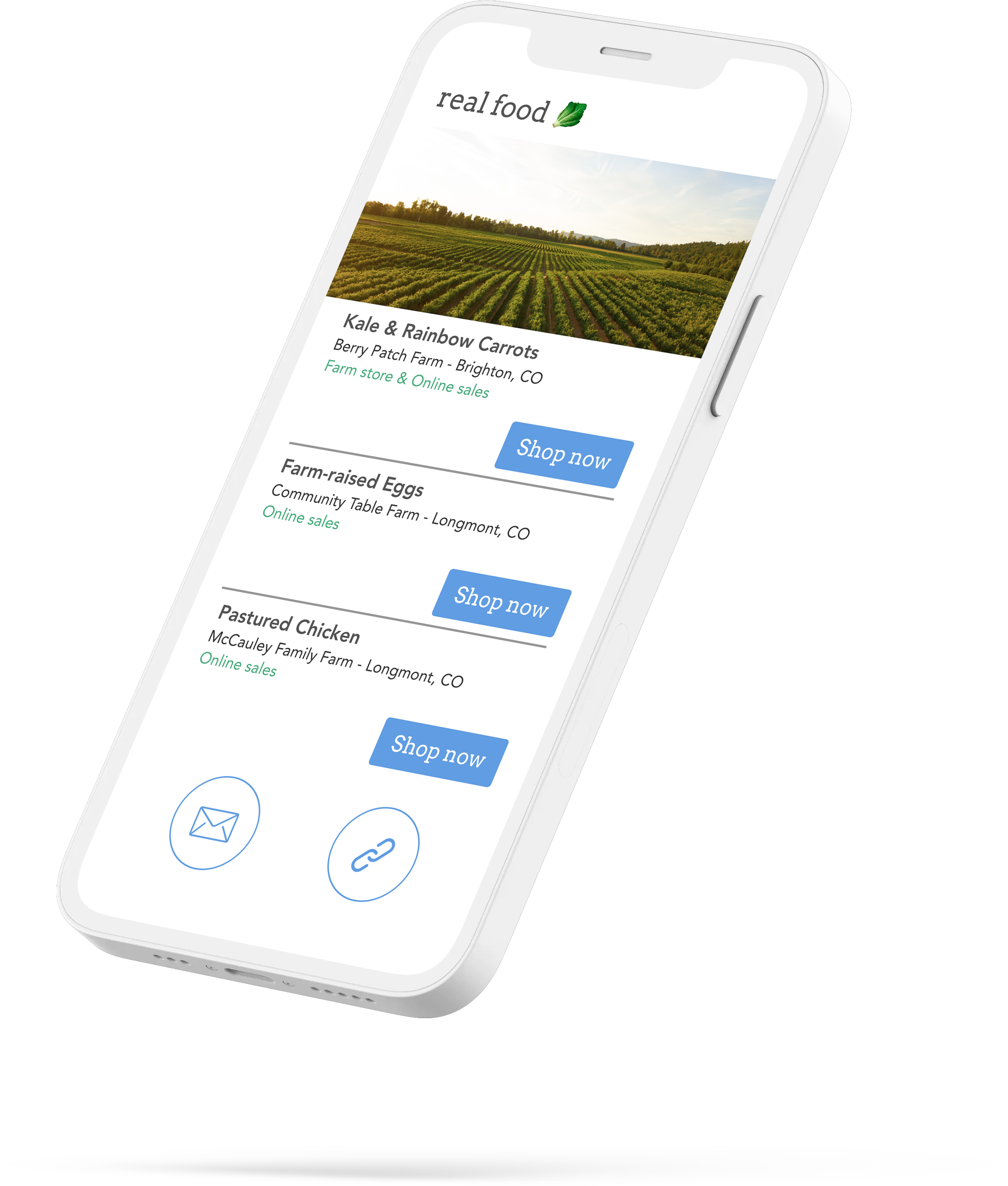 A smartphone with real food newsletter