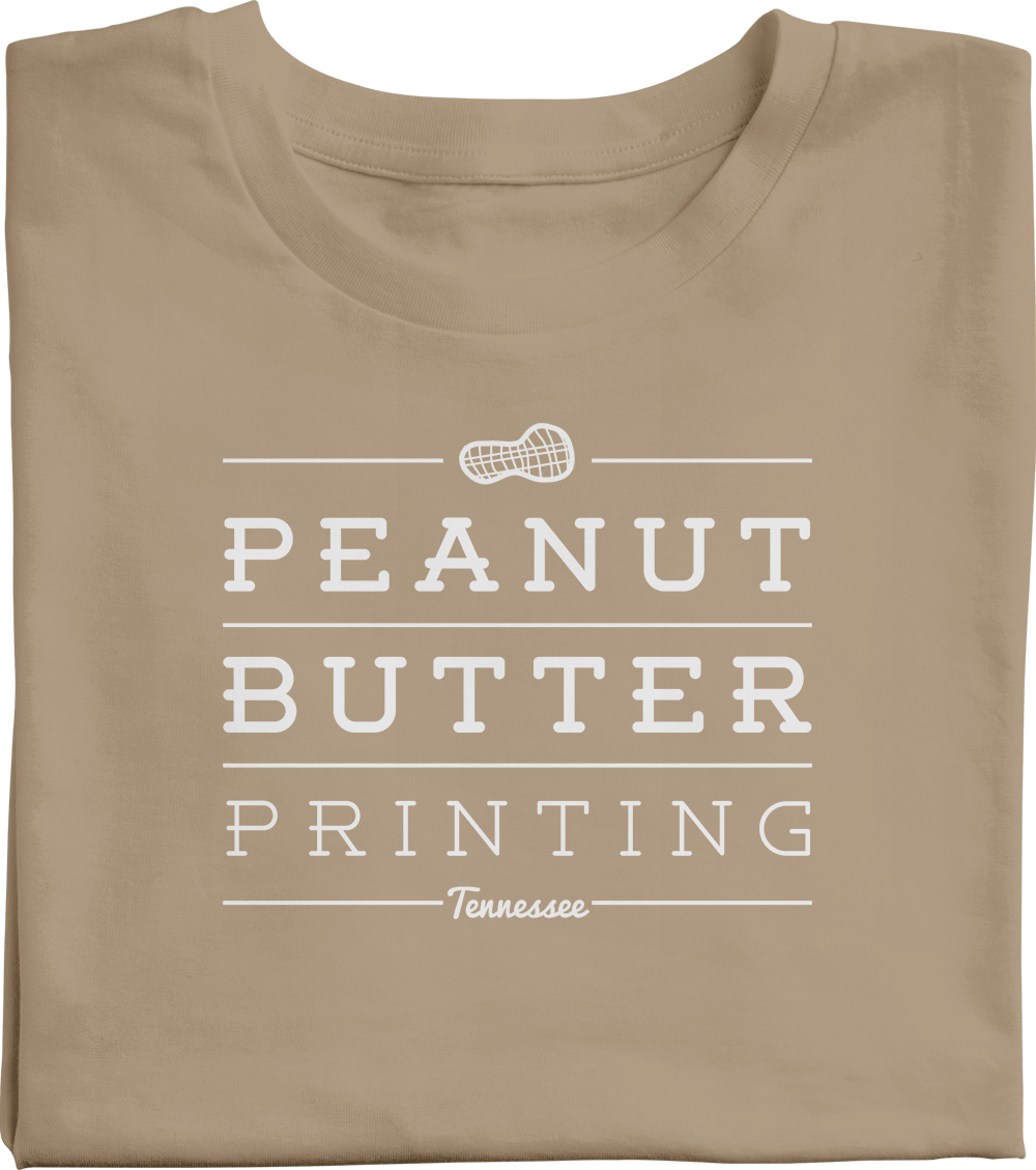Peanut butter printing logo on a t-shirt.