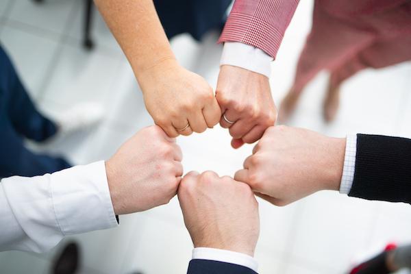 Die Fäuste der Teammitglieder der digitalen Steuerkanzlei zusammen