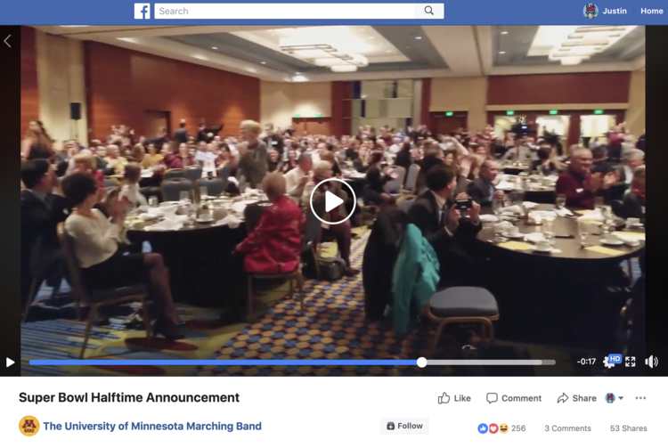 Click the image to watch a video of the University of Minnesota Marching Band learn they would be playing in the Super Bowl halftime show with Justin Timberlake.