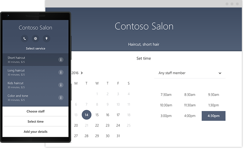 Microsoft Bookings exemple contoso salon