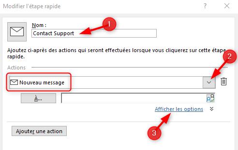 Outlook Action Rapide Nouveau message