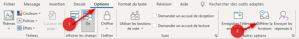 Outlook Bouton Envoi Différé