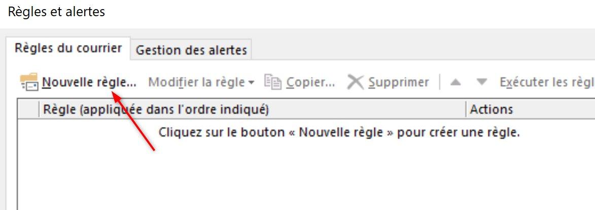 Outlook Nouvelle Règle