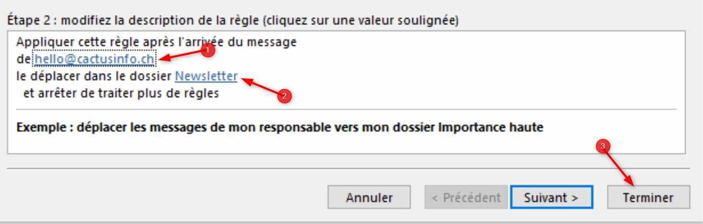 Outlook Créér Règle