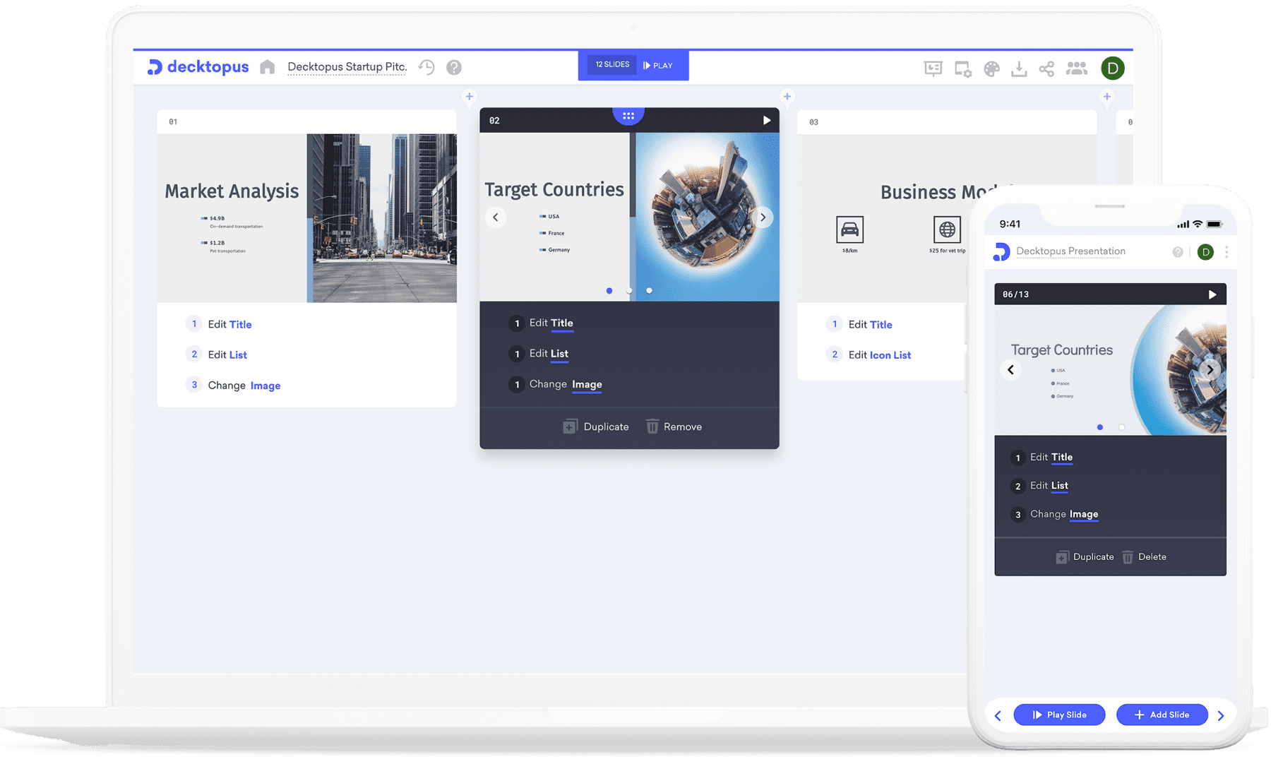 Decktopus edit screen in desktop and mobile device