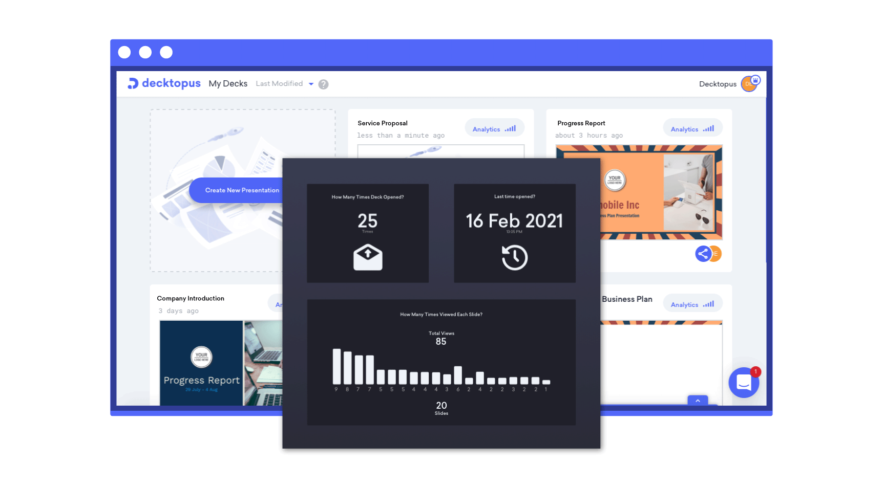 an analytics screen of decktopus