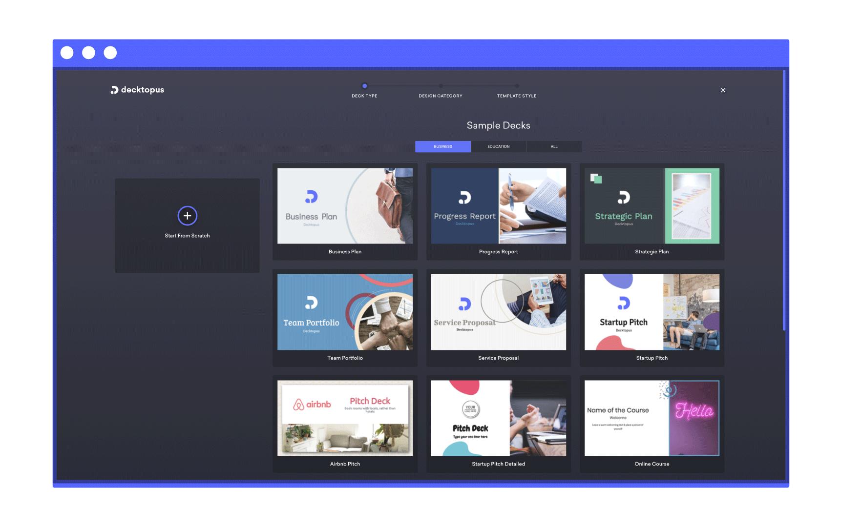 presentation templates screen of decktopus