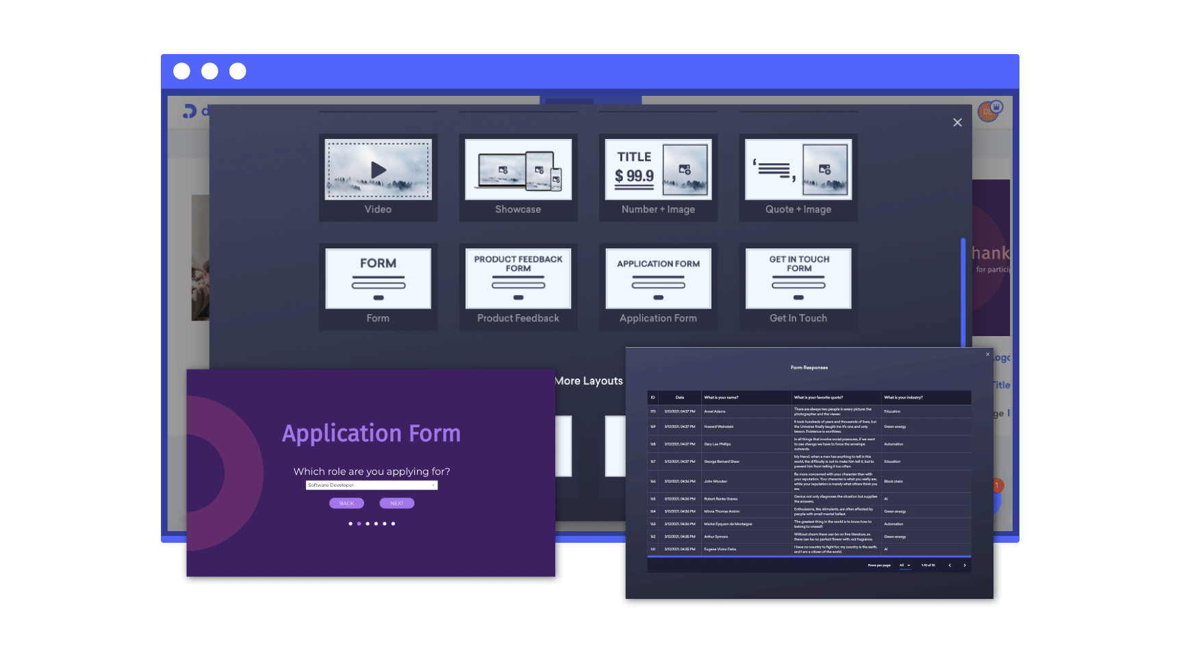 a form slide and response dashboard of decktopus