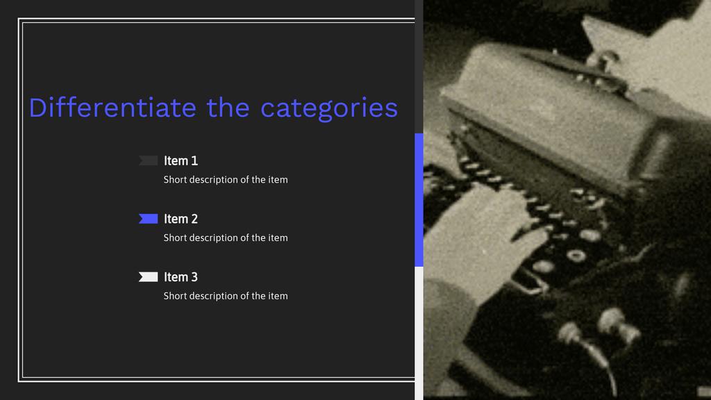 Homework Presentation Different Categories Slide