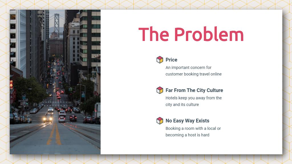 Airbnb Pitch Deck Problem Statement Slide