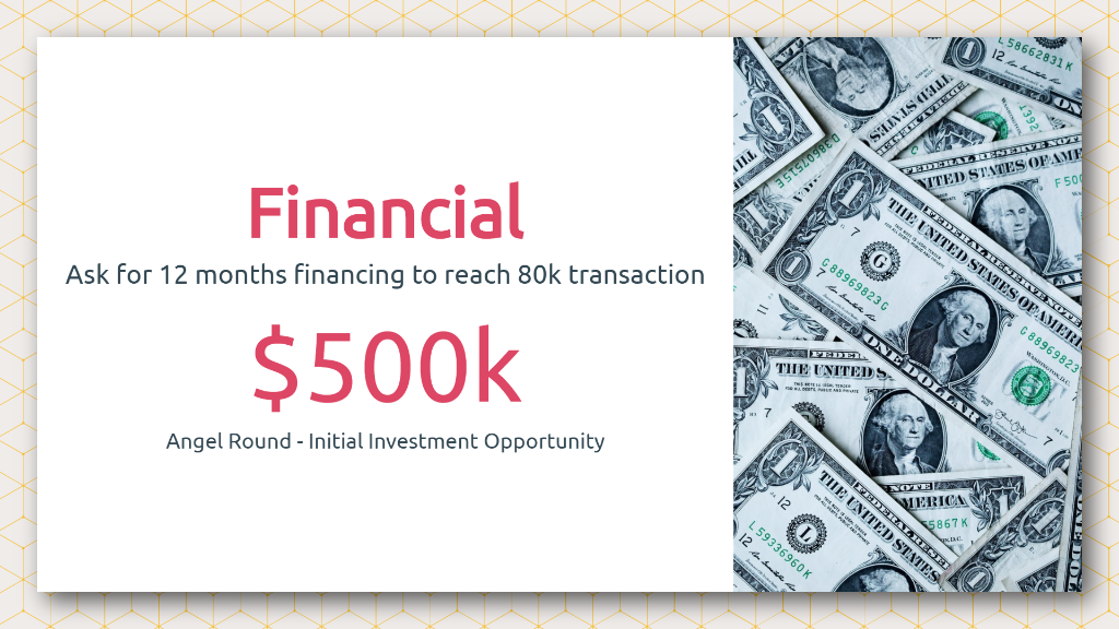 Airbnb Pitch Deck Financial Request Slide