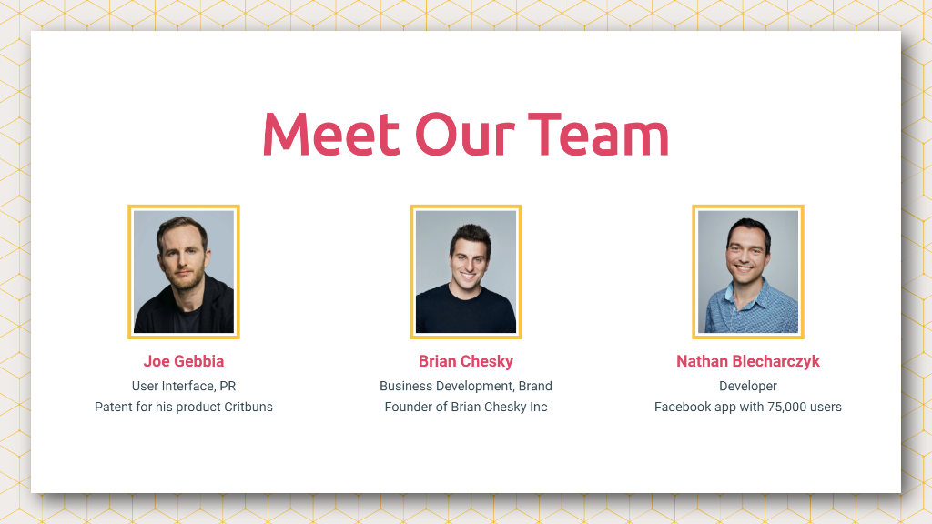 Airbnb Pitch Deck The Team Slide