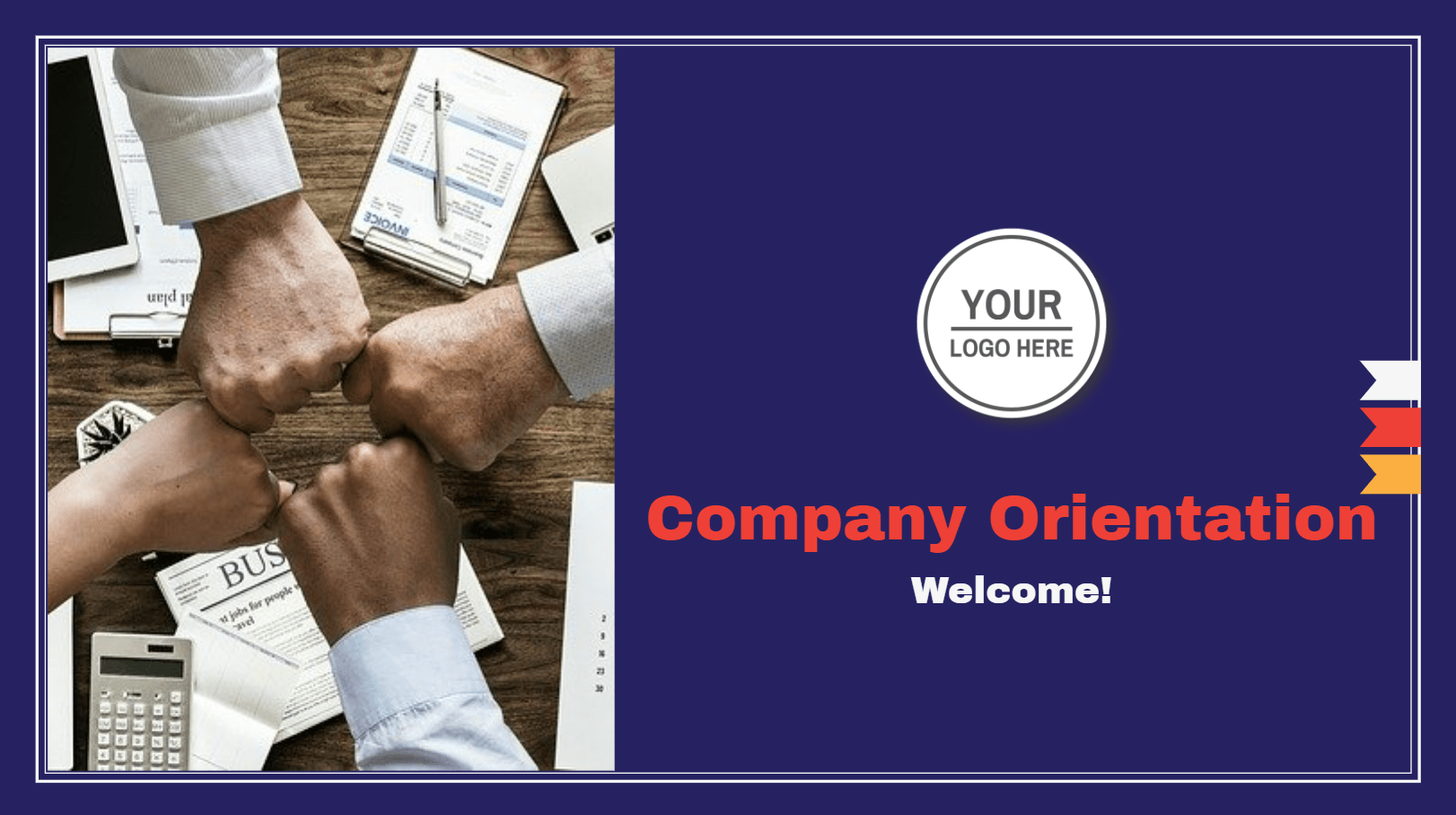 The perfect template to use during company orientation conferences. Suitable for kickstart the conference with the company background, team, and company policies. This template can be used as a presentation, or as a summary document. It is fully customizable according to the branding.
