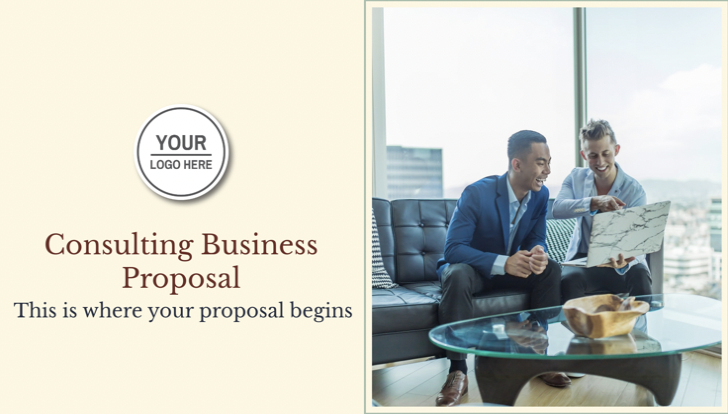 What is a consulting proposal template? A consulting proposal is a document that is sent to a prospect that acts as a sales pitch. Describe how the consultant would handle a particular project.