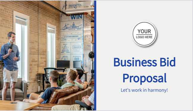 """""""The business bid proposal template that has everything you need to thrive in your presentation. Create a stunning, clean business proposal now with Decktopus!"""" says a happy user!"""
