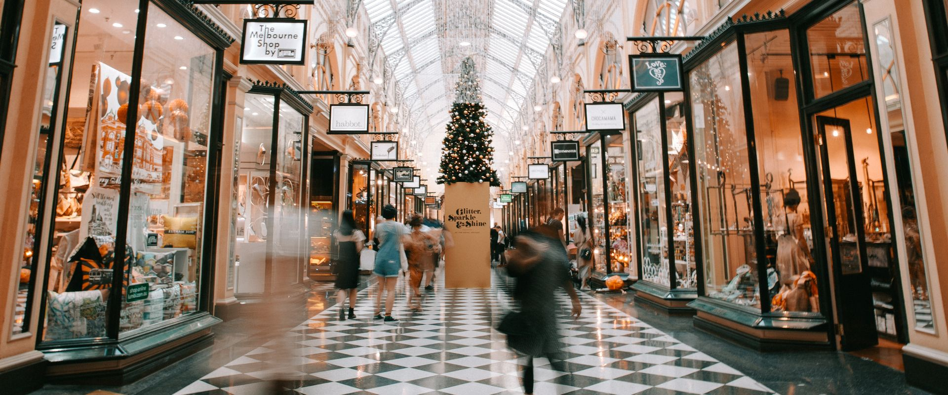 busy mall during Christmas
