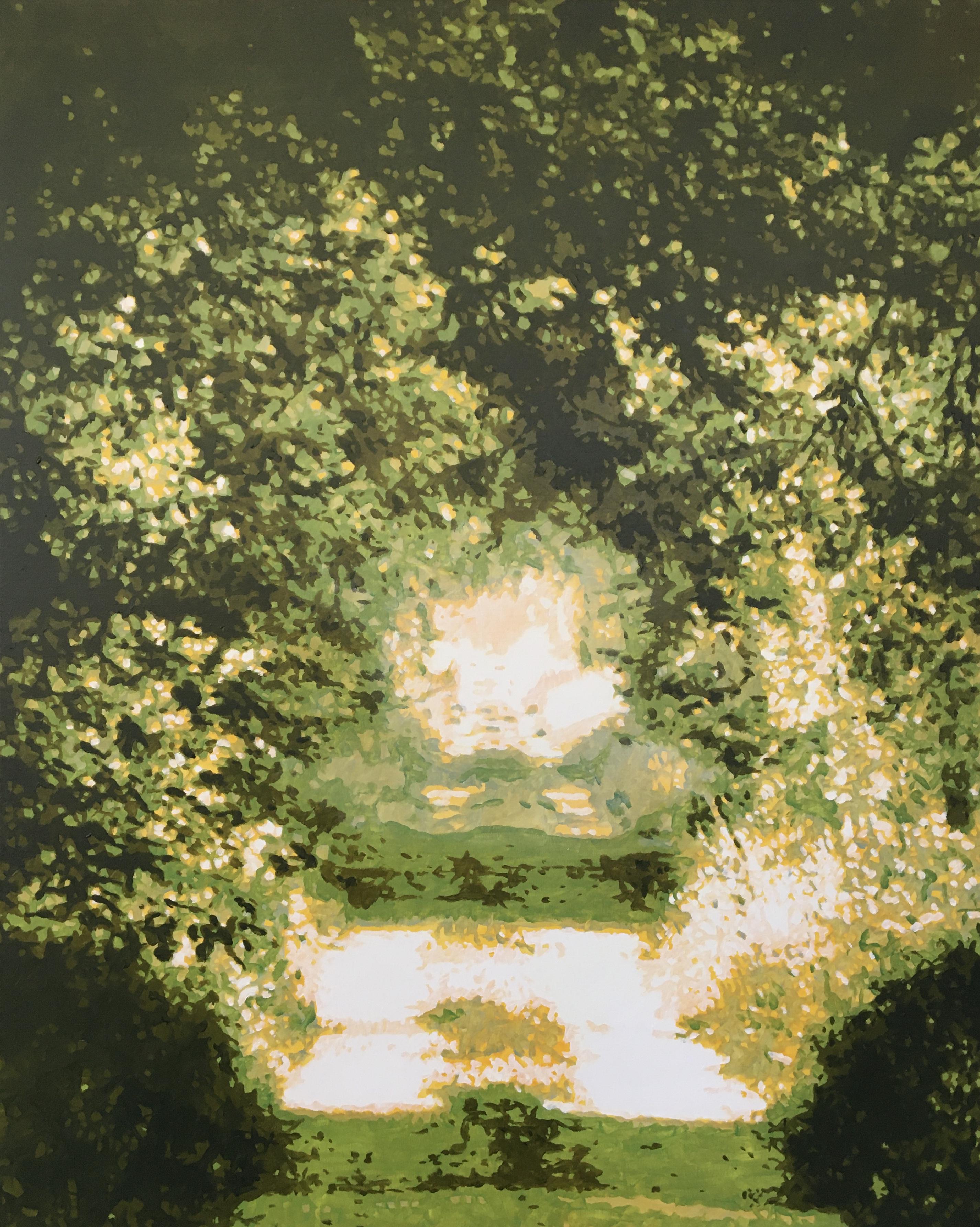 Verfvlekken in de vorm van een bos #2