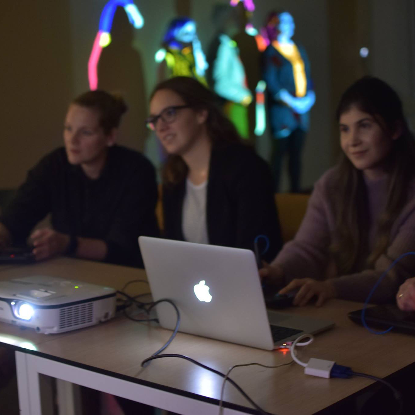 A picture showing the experimentation and developing creative ideas by light-up collective
