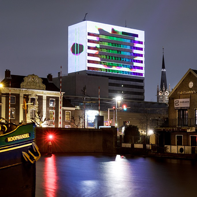 picture of projection mapping in Stedelijk museum in Schiedam by light-up collective