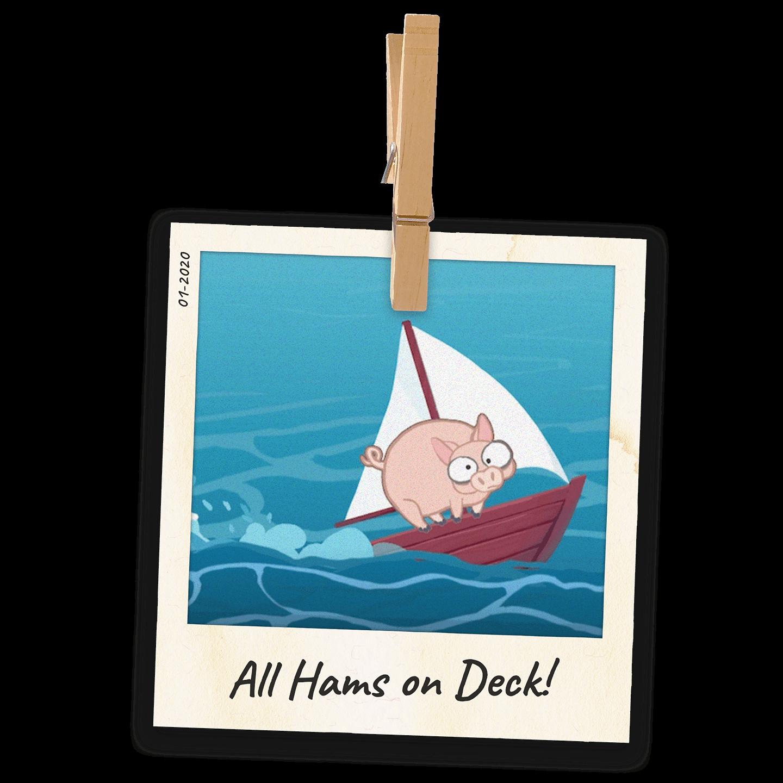 Polaroid photo of All Hams on Deck!