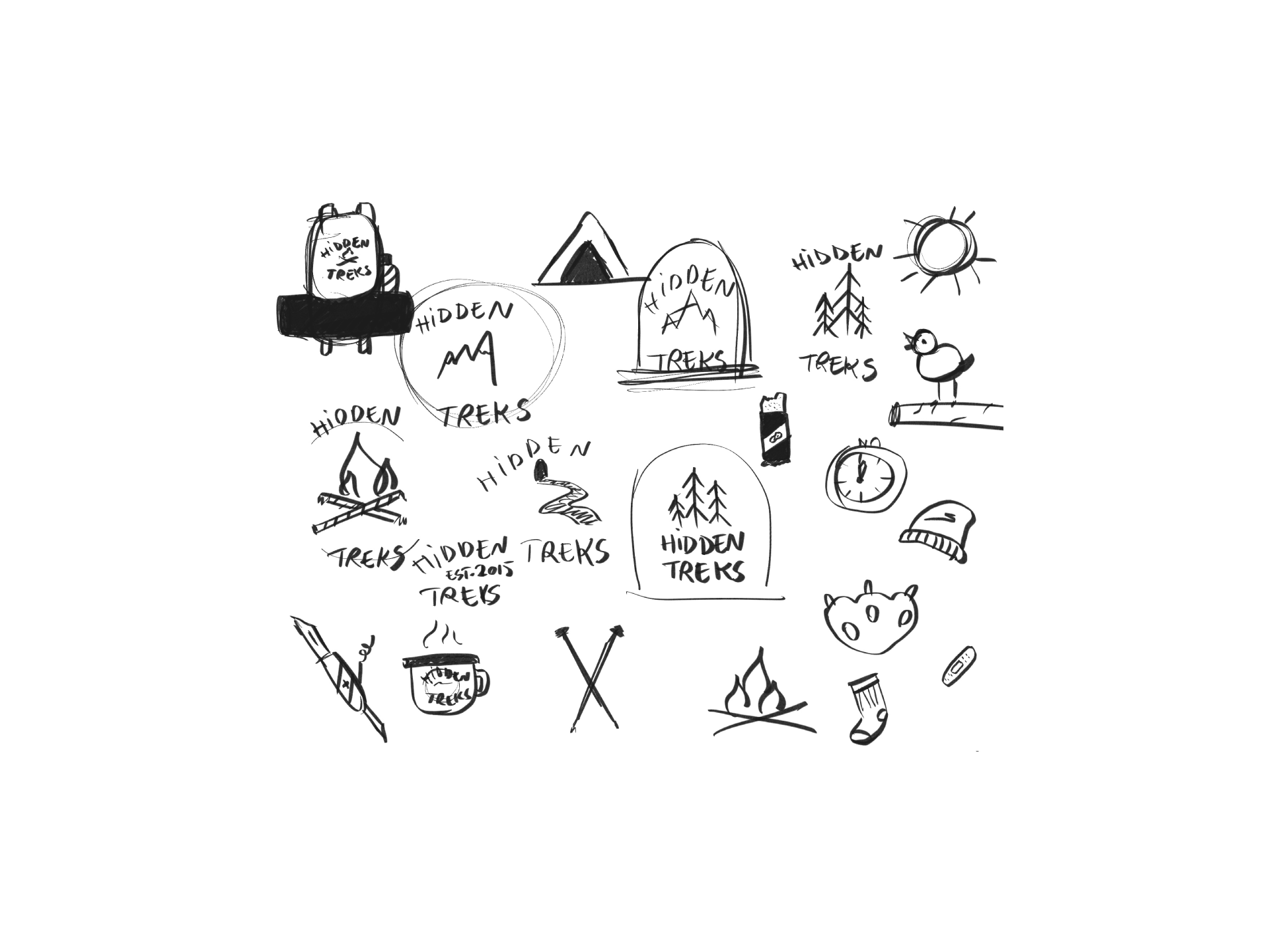 Sketches of hiking gear