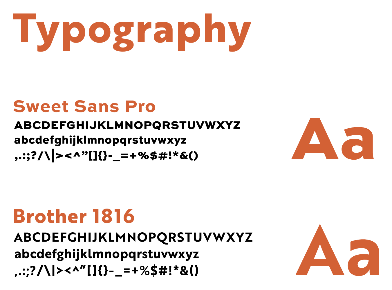 Fonts used for Hidden treks, Sweet sans pro and Brother 1816