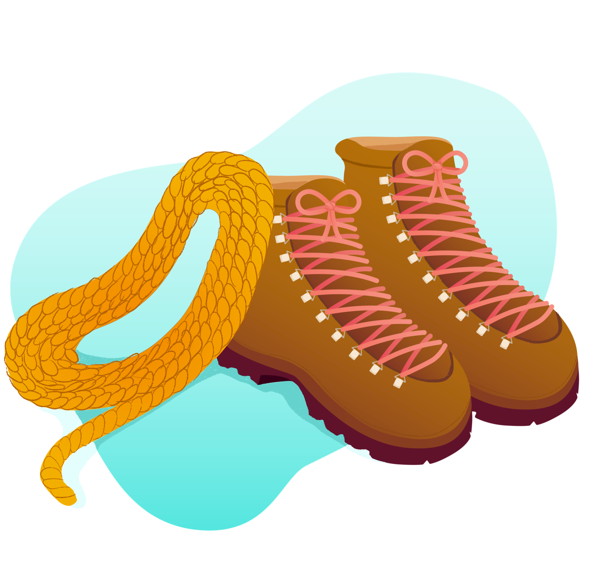 A climbing rope and hiking boots