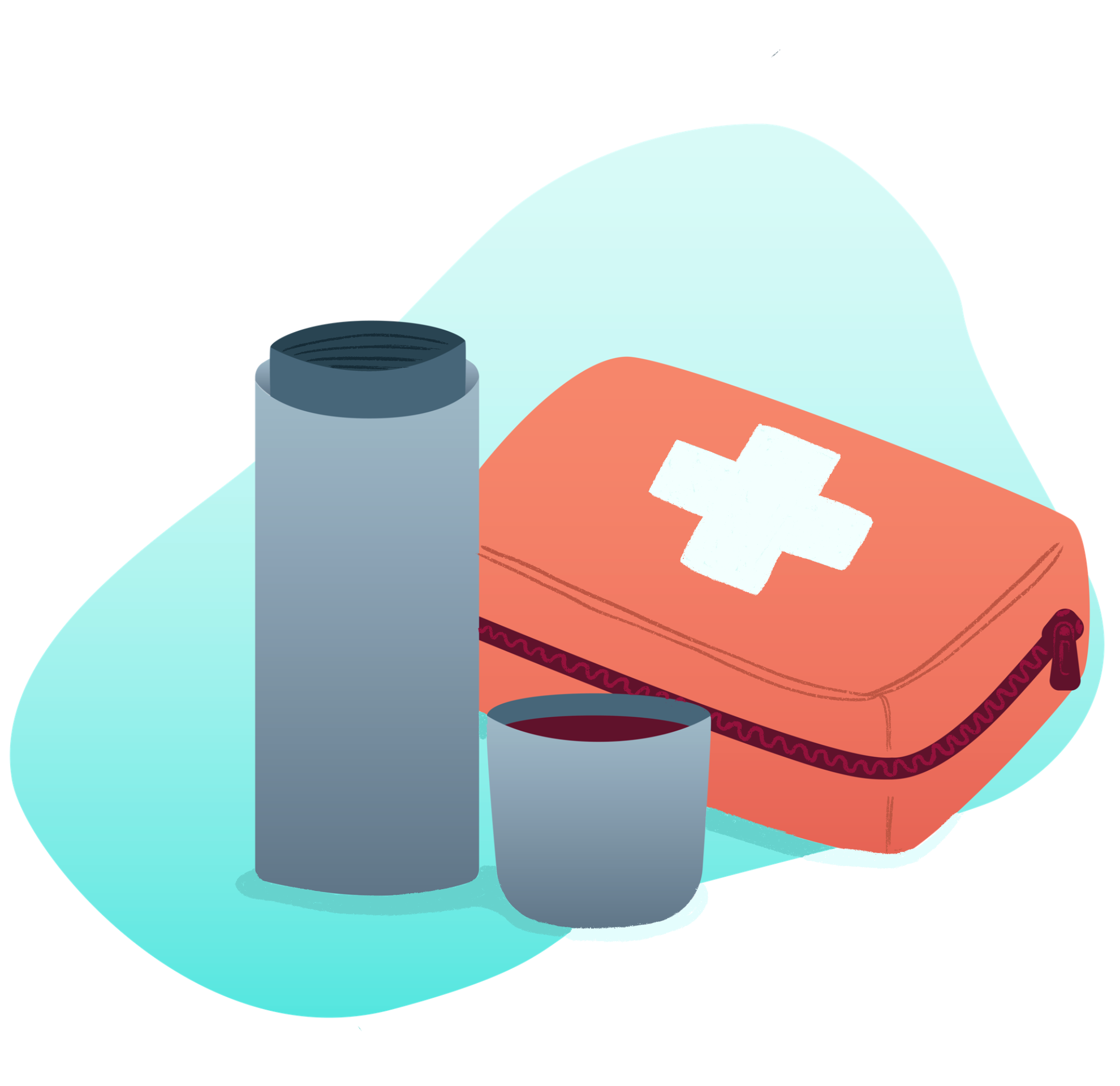 A thermos of hot tea and a first aid kit.