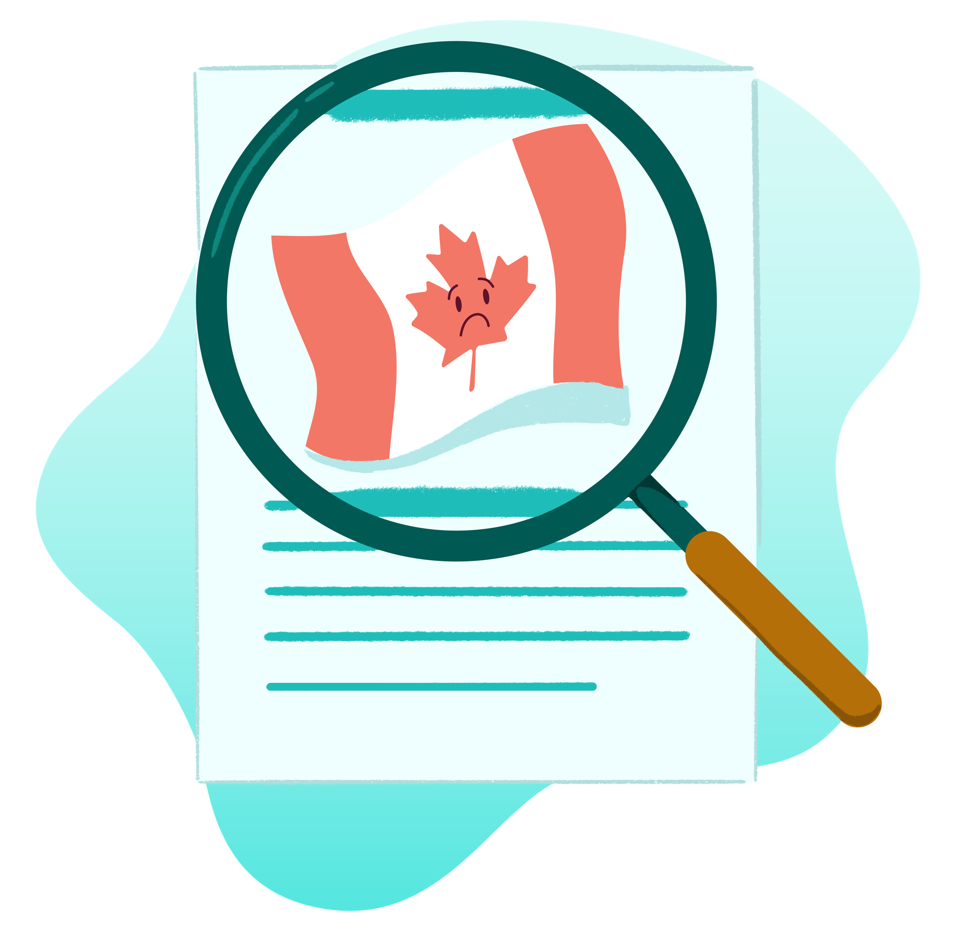 A magnifying glass is over a piece of paper. In the magnifying glass is a Canadian Flag where the maple leaf in the flag has a distressed/sad face.