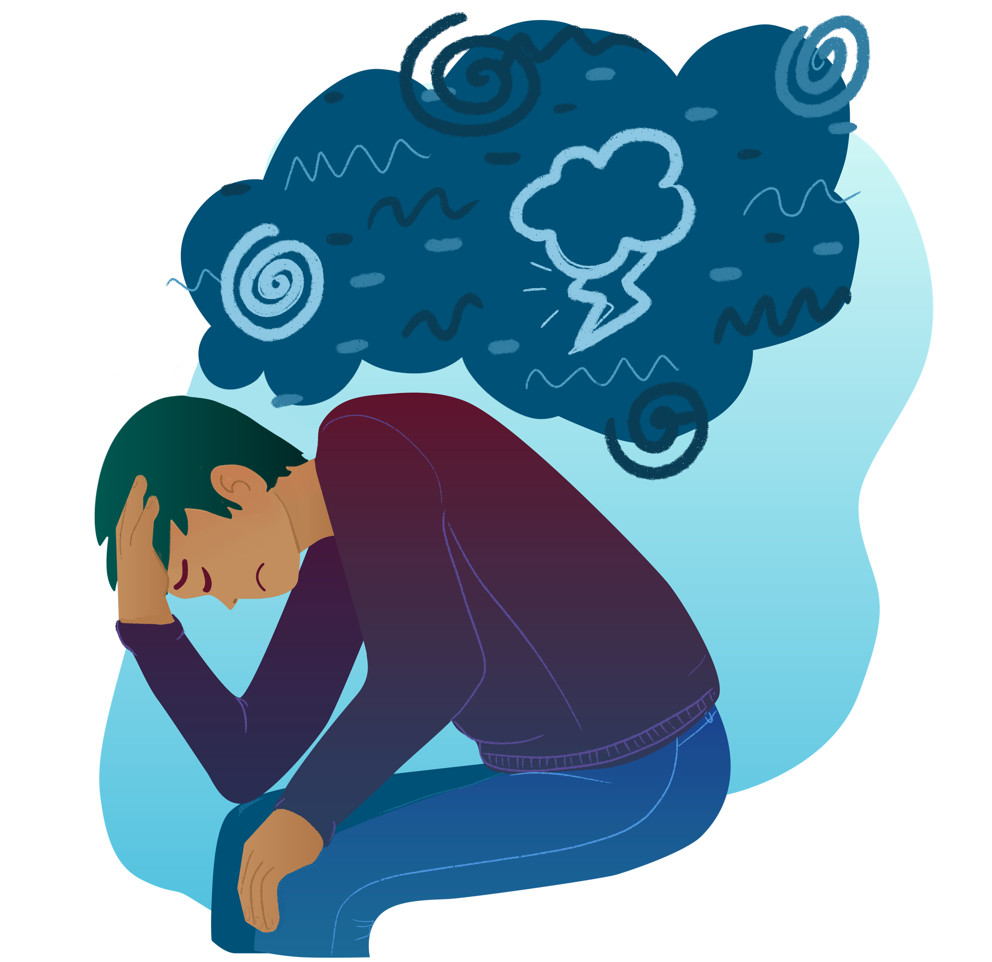 A man with light brown skin is resting his head in his hands looking depressed. Above him is a thought bubble that is filled with negative symbols, such as thunder cloud and swirl.
