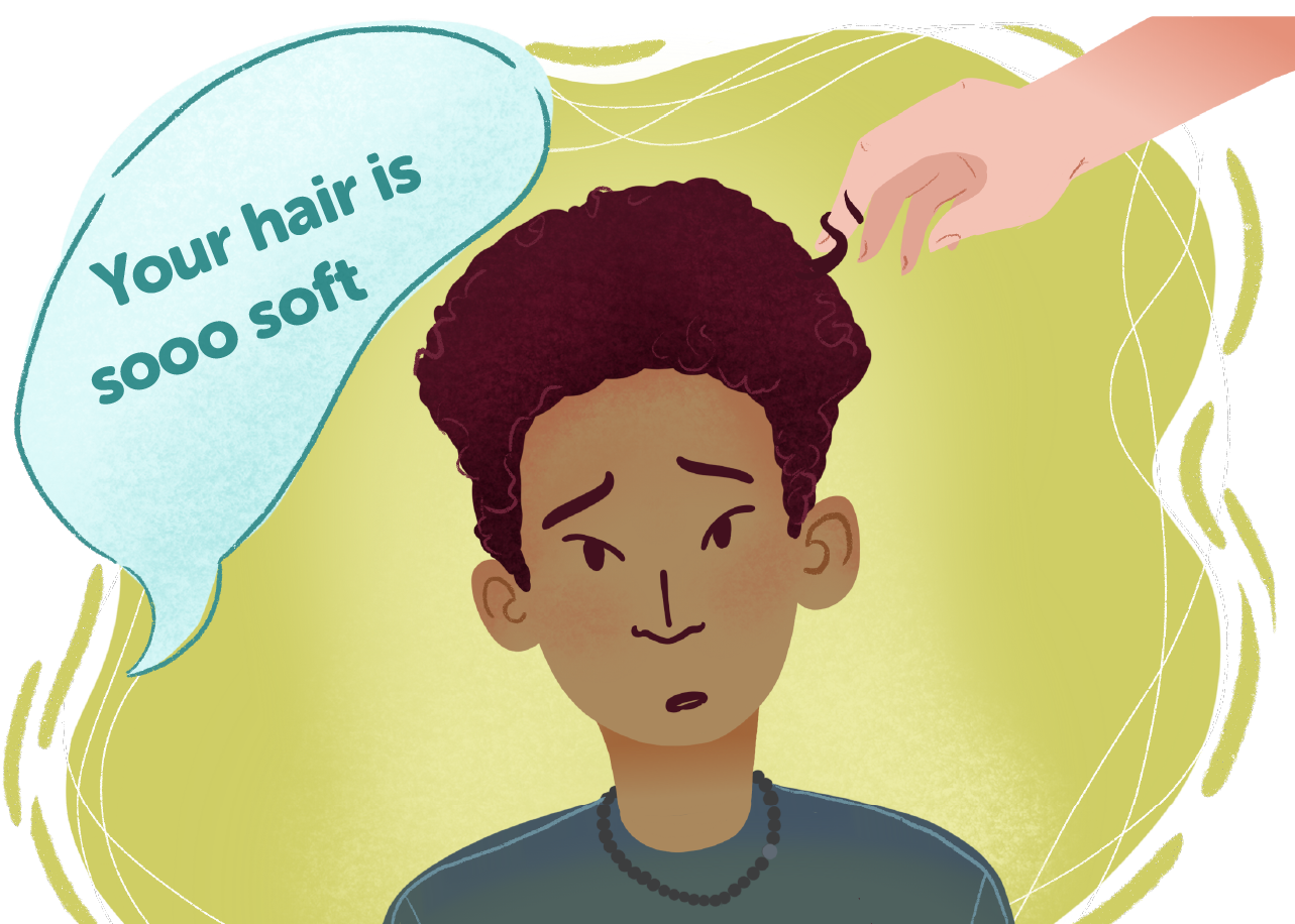 """A boy, Chris, is in the middle of the frame. He has light brown skin and dark curly hair. There is a white hand on the right side playing with his hair and a conversation bubble on the left saying """"Your hair is sooo soft"""""""