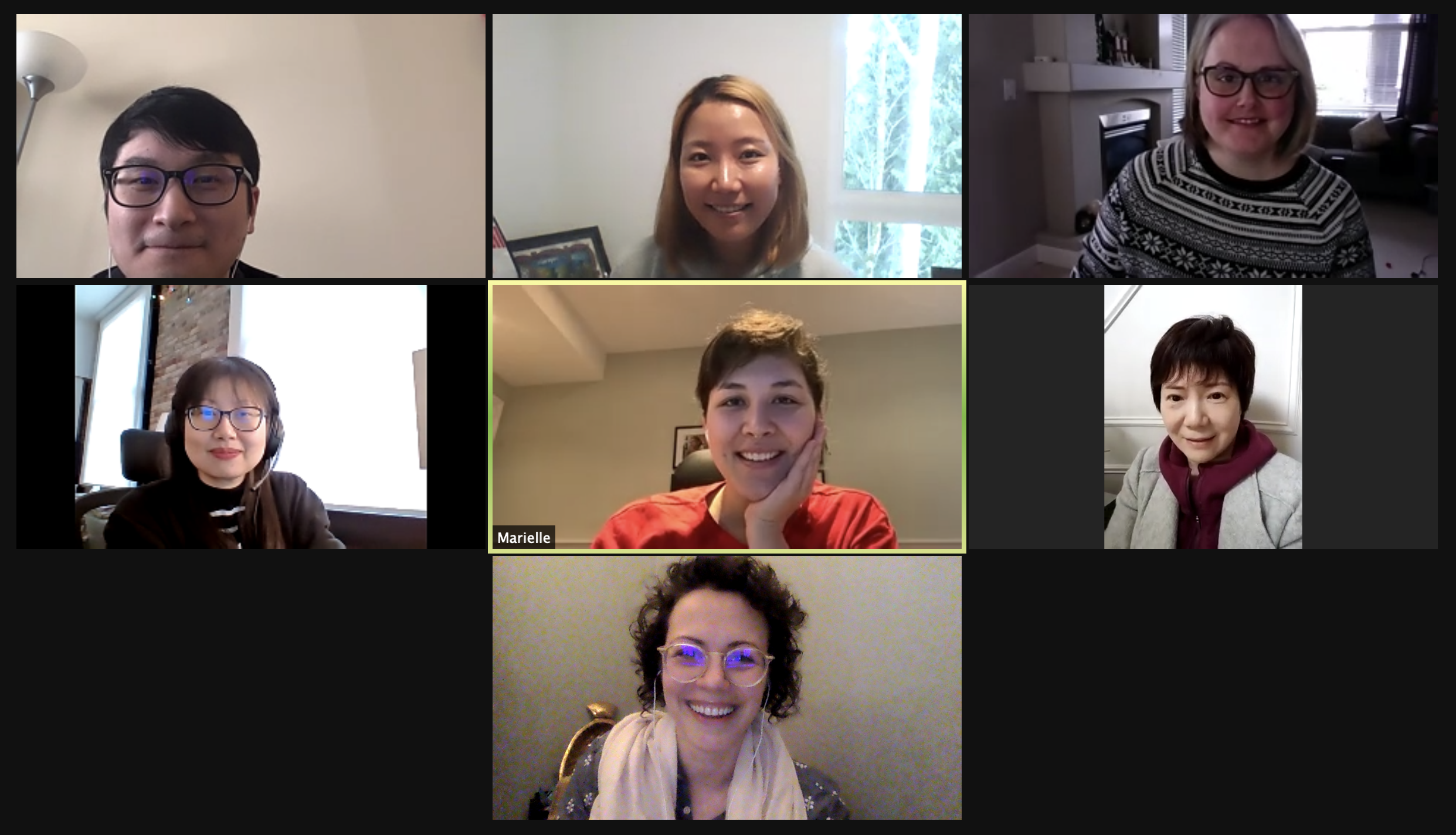 A group photo of the team on Zoom. Everyone is smiling and posing for the picture. The people from left to right are: Lucas, Grace, Stacey, Mingji, Marielle, Nicole, and  Alysha.
