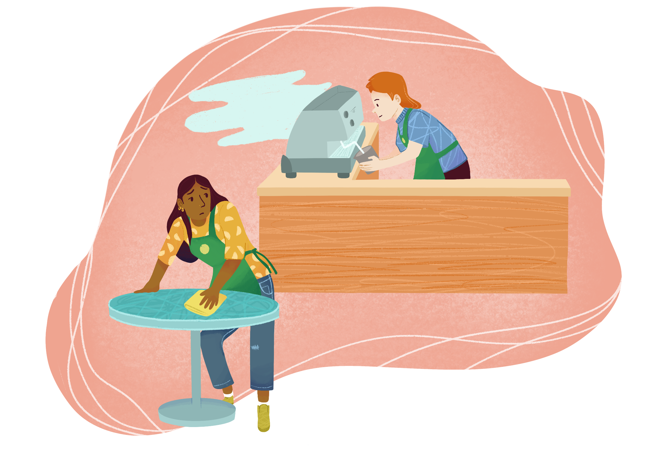 Grace, who has dark brown skin and long black hair, is cleaning a table at a coffee shop. She has a pained expression on her face as she looks behind her at her co-worker. Her co-worker, who is white, is steaming milk on a coffee machine.