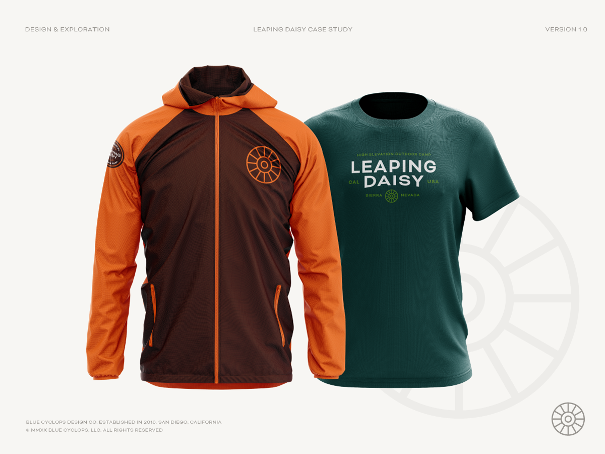 Jacket & T-shirt with Leaping Daisy Branding on it.