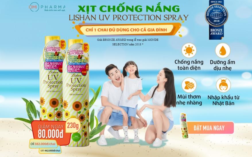 Xịt chống nắng Lishan UV Protection Spray