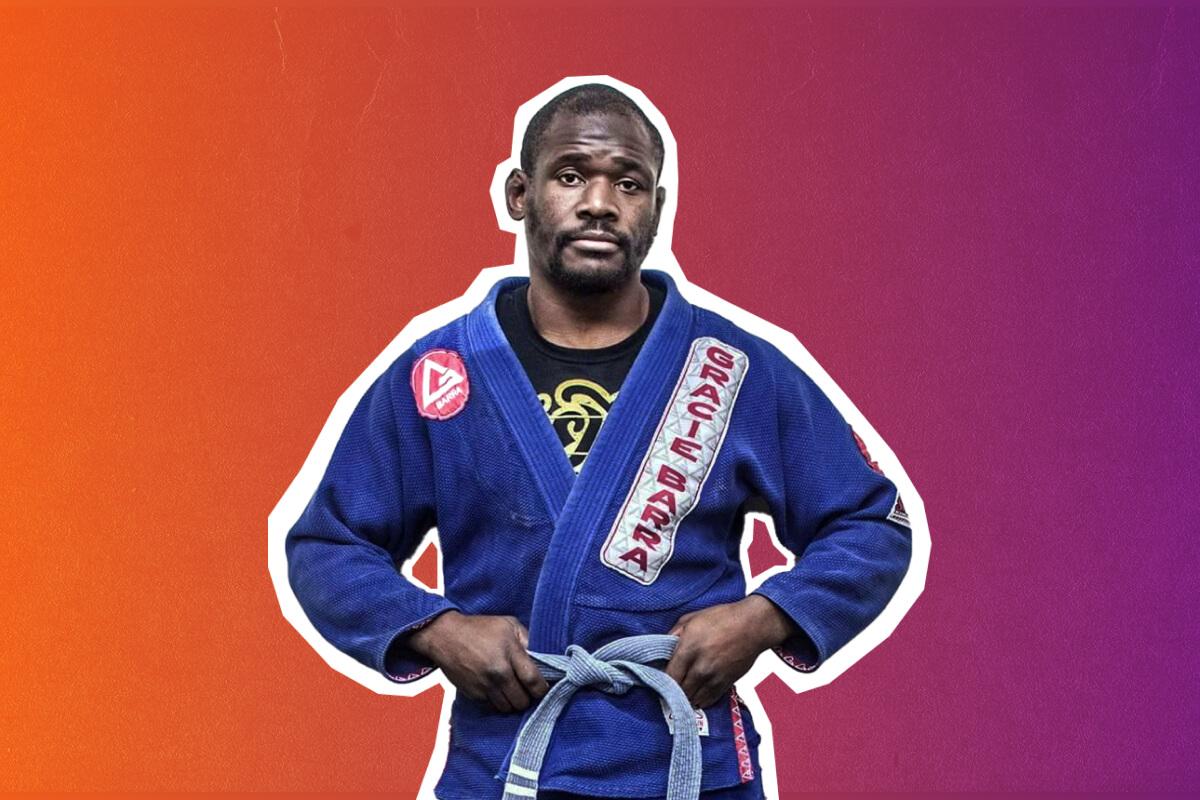 Shaun Lomas wearing his ju-jitsu gi and blue belt