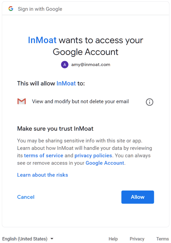 Gmail Google Authentication