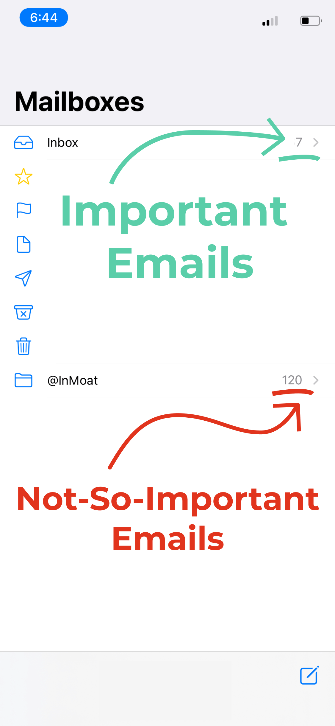 A mobile inbox showing InMoat keeps important emails stay in your inbox and unimportant emails are filtered to a new folder to be reviewed later.